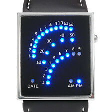 DOT MATRIX BLAUE & Rot LED Licht WATCH UHR BINÄRE ARMBANDUHR HERRENUHR Datum