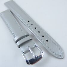 HQ 10~18 MM PEARLY SILVER ITALY LAMBSKIN LEATHER WATCH BAND PEARL SMOOTH STRAP