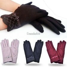 WOMENS LADIES GLOVES LINED FLEECE DRIVING SOFT WINTER BOW WARM MITTEN MITTENS