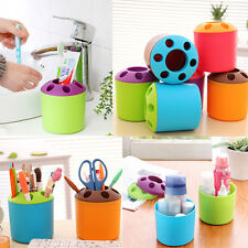 Plastic 4Color Toothbrush Toothpaste Holder Cup Pen Holder Container Makeup Tool