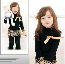 Baby Kids Girls Sexy Over Hip Long Leopard Semi Tight Skinny Skirt Dress 1~6Y