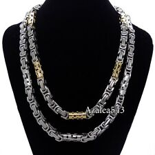 MEN'S 8MM Silver/Gold Tone Stainless Steel Byzantine Box Chain Necklace 21.5""
