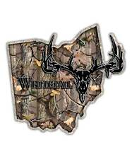 Ohio State Hunting Decal - Whitetail Deer Skull Camo Sticker OH