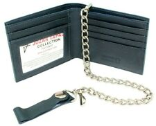 Mens Bikers / Tuckers / Hikers Bi-Fold Wallet with Heavy Chain Genuine Leather
