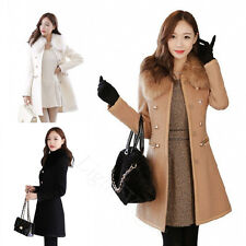Women Slim Wool Fur Warm Trench Sexy Parka Double-Breasted Winter Coats Jacket B