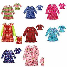 Dollie & Me Girl and Doll Matching Christmas Nightgown Pajama fit American Girls