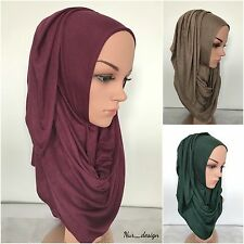 Women Cotton Jersey Stretch Soft Plain Rectangle Scarf/Wrap Free size Hijabs.