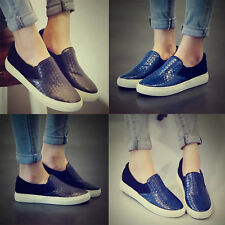 Korean Style Embossed Women Slip on Step-in Loafer Splice Comfy Flat Shoes Pumps