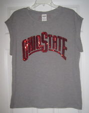 NWT VICTORIA'S SECRET PINK OHIO STATE BUCKEYES SEQUIN BLING CUFFED T SHIRT TOP