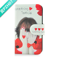2014 Hot sale lovely shy girl PU leather Flip case cover for Samsung Galaxy