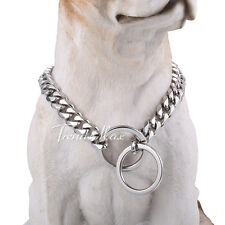 """2 Option Silver Tone 316L Stainless Steel Dog Chain Collar Cut Curb 12-30"""""""