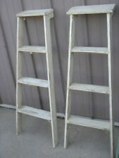 Vintage Wooden 4 Step Ladder Shelf - These Ladders Lean to Make Great Display