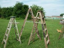 Vintage Wooden 7 Step Ladders for Decorating - Wood Surface or Painted Ladders