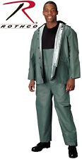 OD Green 2-Piece Rain Suit with Attached Drawstring Hood Rain Jacket 3616
