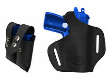 NEW Barsony Black Leather Pancake Gun Holster + Mag Pouch Bersa Colt  22 25 380