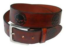 Harley-Davidson Men's Embossed Black Willie G. Skull Leather Belt Brown HD283-C