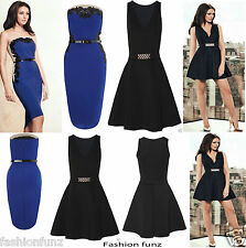WOMENS LADIES CELEB Michelle BELTED BANDEAU STRAPLESS BOOBTUBE PARTY DRESS 8-14