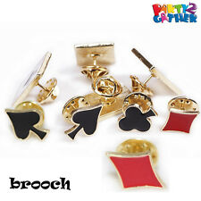 Mini Collar Clip Punk Blouse Metal Tips Pin Brooch Poker Card Pattern