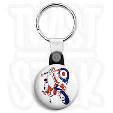 Lambretta Mod Target Painting - 25mm Keyring Button Badge with Zip Pull Option