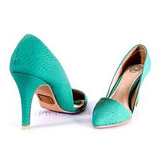BF Sole Mint Green Slip On Pointed Toe Snake Print Women Sexy High Heel Shoes