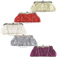Women Ladies Girl Pleated Wedding Clutch Purse Handbag Bridal Clutch Evening Bag