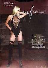 2 PC Sex y Opaque Sheer Faux Lace Up Front Teddy With Matching Sex y Stockings