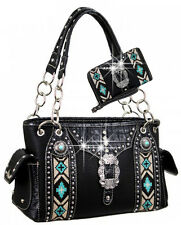 Buckle Accented Embroidery Aztec Design Western Style Handbag Set MW35-8085