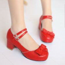 Womens Sweet Bowtie Mary Janes Ankle Strap Heels Pumps Shoes Lolita Sandals