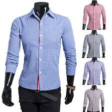 New Fashion Mens Casual Button Front Plaid Small Lapel Long Sleeve Shirt Top Tee