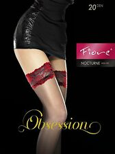 FIORE NOCTURNE STAY UP THIGH HIGH STOCKINGS FINE EUROPEAN  3 SIZE GRAPHITE