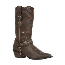 DURANGO Women's Brown Heart Concho Harness Chain Western Leather Boots RD4155