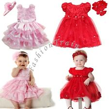 Christmas Flower Girl Baby Party Wedding Pageant Tutu Dress+Headband Sets Outfit