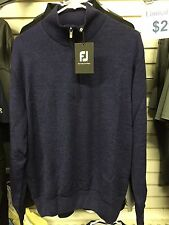 NEW FootJoy Performance Lined 1/2 Zip Merino Wool Sweater Heather Purple #23230