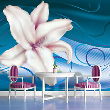 PHOTO WALL MURAL WALLPAPER WALLCOVER HOME DECOR LILY ON BLUE BACKGROUND 700VE