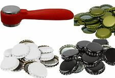 KNOCK ON CROWN CAPPER WITH BOTTLE CAPS METAL WHITE BLACK GOLD HOME BREW
