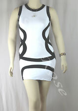 WOMENS CLOTHING SEXY WHITE PARTY DRESS WITH BLACK TRIM INCL PLUS SIZES