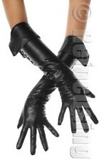 LONG BLACK LEATHER BUTTON CUFF OPERA GLOVES