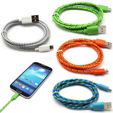 1M/2M/3M Woven Braided Fabric Micro USB Data Sync Charger Cable For Mobile Phone