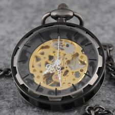 Classic Steampunk Gold Skeleton Men Hand-winding mechanical pocket Watch Gifts