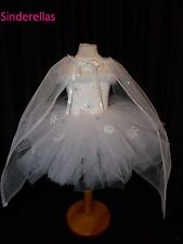 White Snow Queen Like Frozen Ice Queen White tutu dress and cape with snowflakes