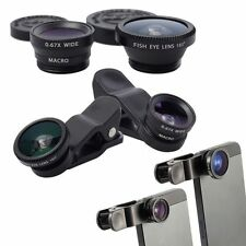 Clip On 3 In 1 Fish Eye Macro Wide Angle Camera Lens For Samsung iPhone 6 Plus