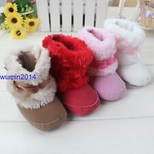 Infant Baby Girls Bowknot Snow Boots Soft Crib Shoes Toddler Warm Fleece New