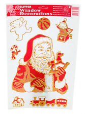 Christmas Glitter Santa Motif Reusable Window Cling Stickers