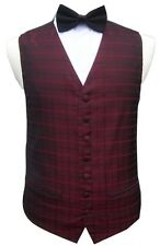 MENS & PAGE BOYS BLACK RED TARTAN CHECK WEDDING DRESS WAISTCOAT S M L XL 2XL 3XL