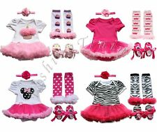 4pcs Newborn Infant Baby Girl Romper Dress+Leg Warmer+Shoes+Headband Xmas Outfit