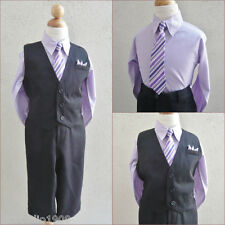 Boy black lilac/iris purple pinstripe graduation party dress shirt vest tie set