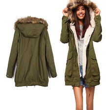 Women Fahion Jacket New Faux Fur Collar Winter Parka Coat Casual Trench Hoodies