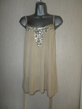 BNWT Ladies Beige Sequinned Neckline Top By Todays Woman RRP £39 Various Sizes