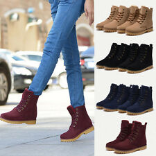 Winter Womens Mens Genuine Leather Lace Up Mid Calf Snow Boots Warm Shoes Botas