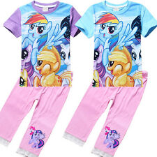 3-8T Girls My Little Pony Summer Cotton Short Sleeve T-shirt &Half Pants Outfits